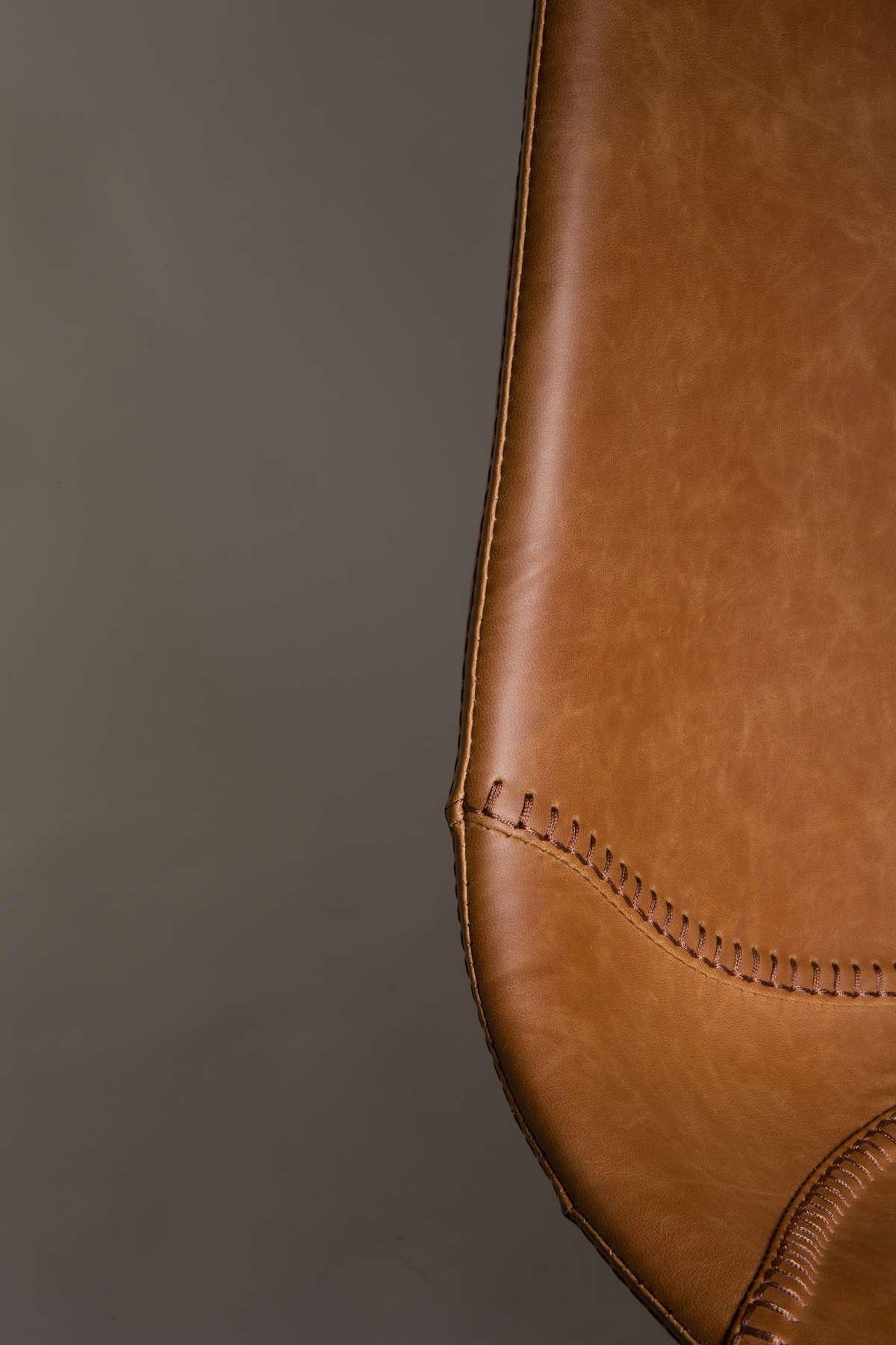 Stołek barowy FRANKY niski brązowy - Dutchbone