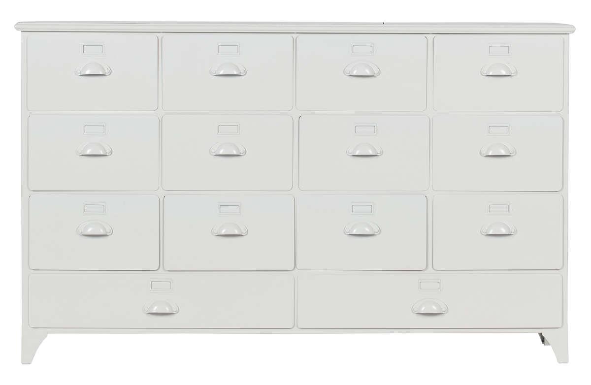 Komoda/ szafka Archive z szufladami metalowa biała