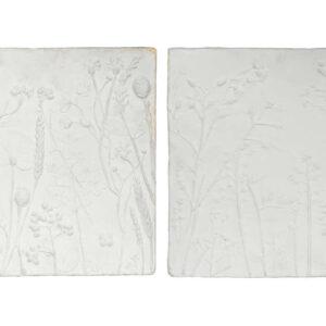 Zestaw 2 dekoracji ściennych Plaquette gipsowe białe
