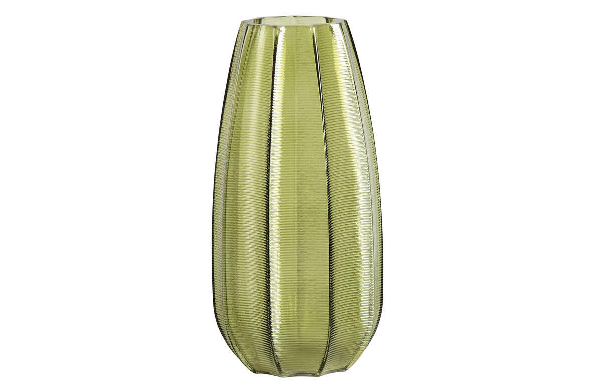 Szklany wazon Kali zielony 28xØ14