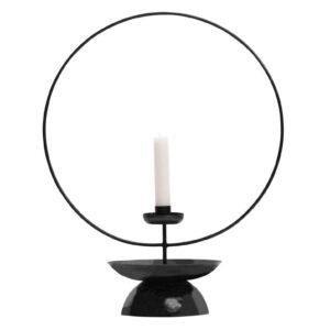 Świecznik metalowy Level czarny 43cm