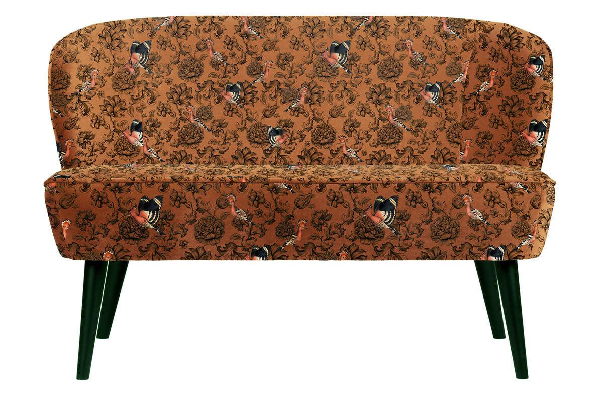 Mała sofa Sara velvet we wzór fenix