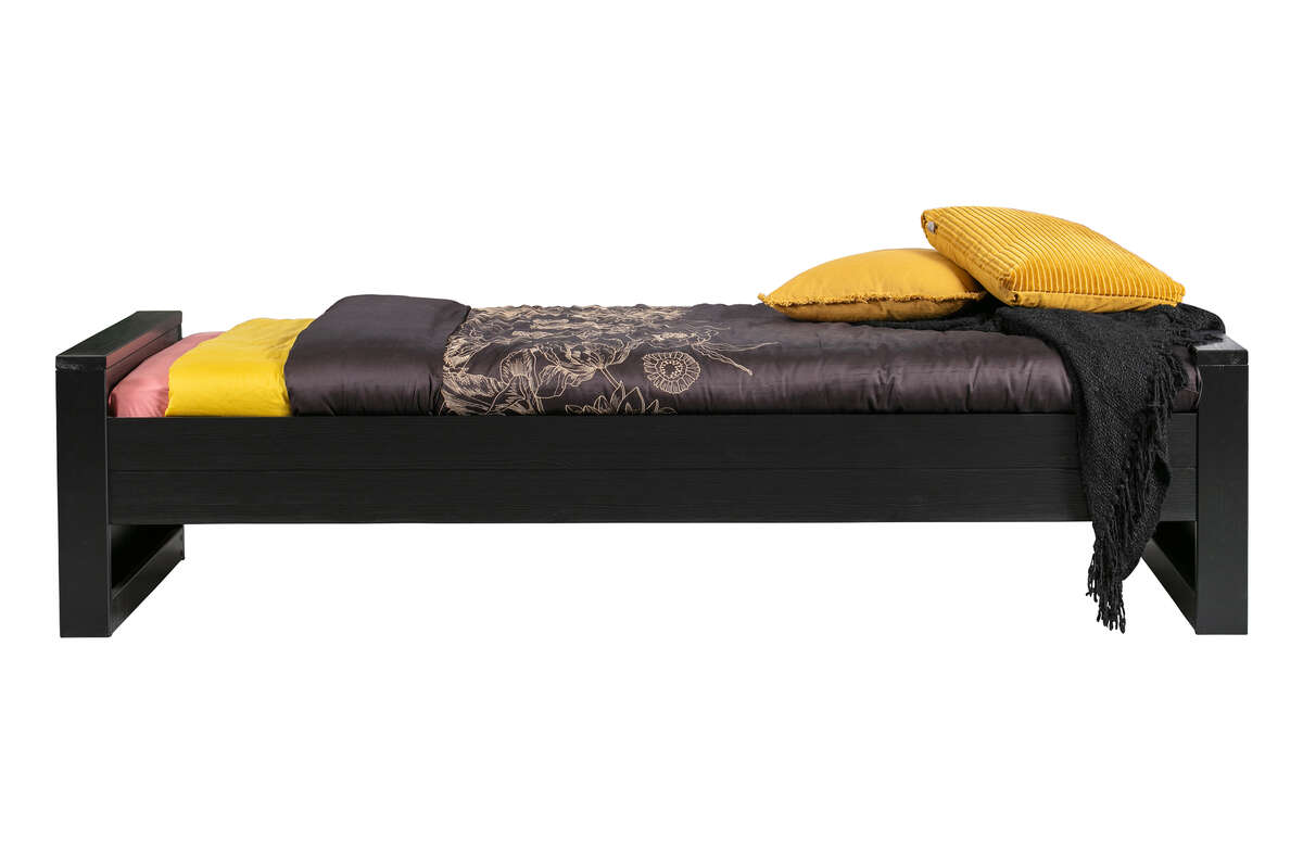 Łóżko DENNIS 90x200 cm czarne [fsc]