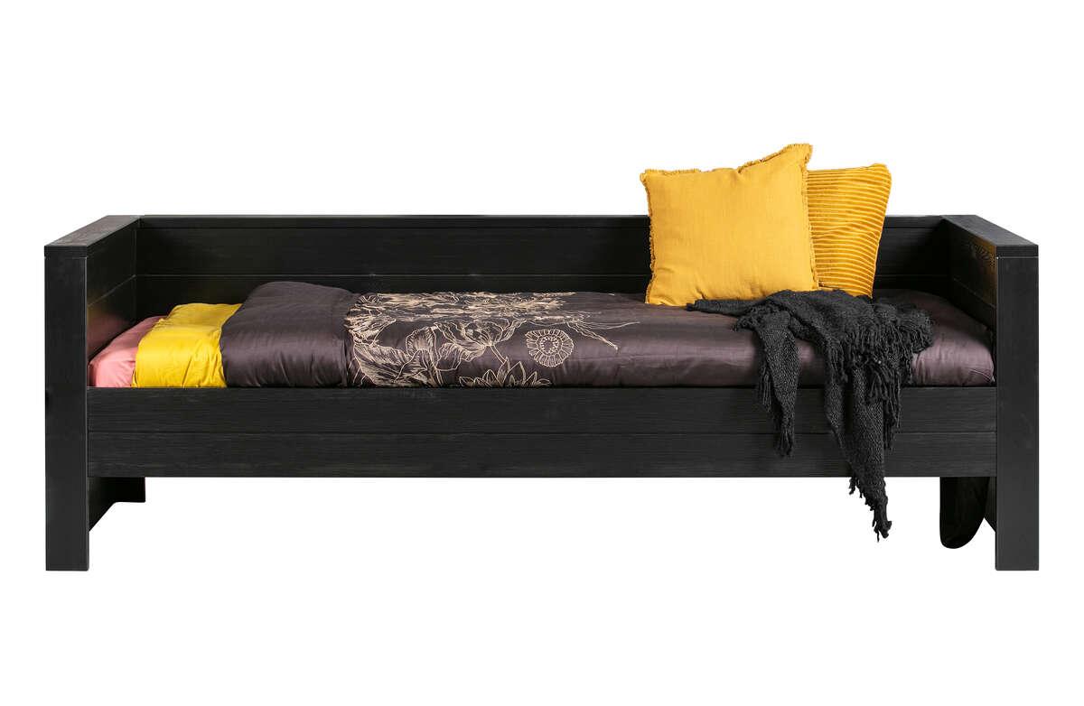 Łóżko DENNIS szczotkowana sosna black (bez szuflady) [fsc]