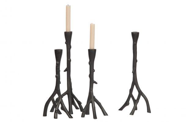Metalowy świecznik w kształcie gałęzi czarny 38cm