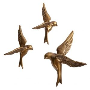 Zestaw trzech metalowych ptaków antyczny mosiądz