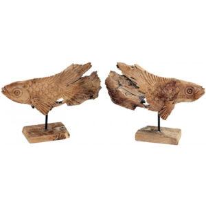 Dekoracja drewniana rzeźba Ryby