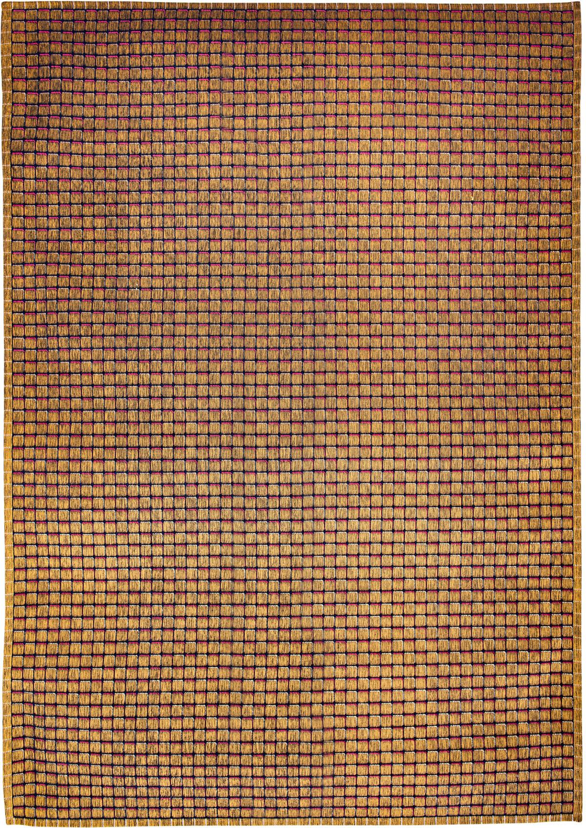 Złoto Różowy Dywan Nowoczesny - QUADRINI GIALLO 9018 - Rozmiar: 170x240 cm