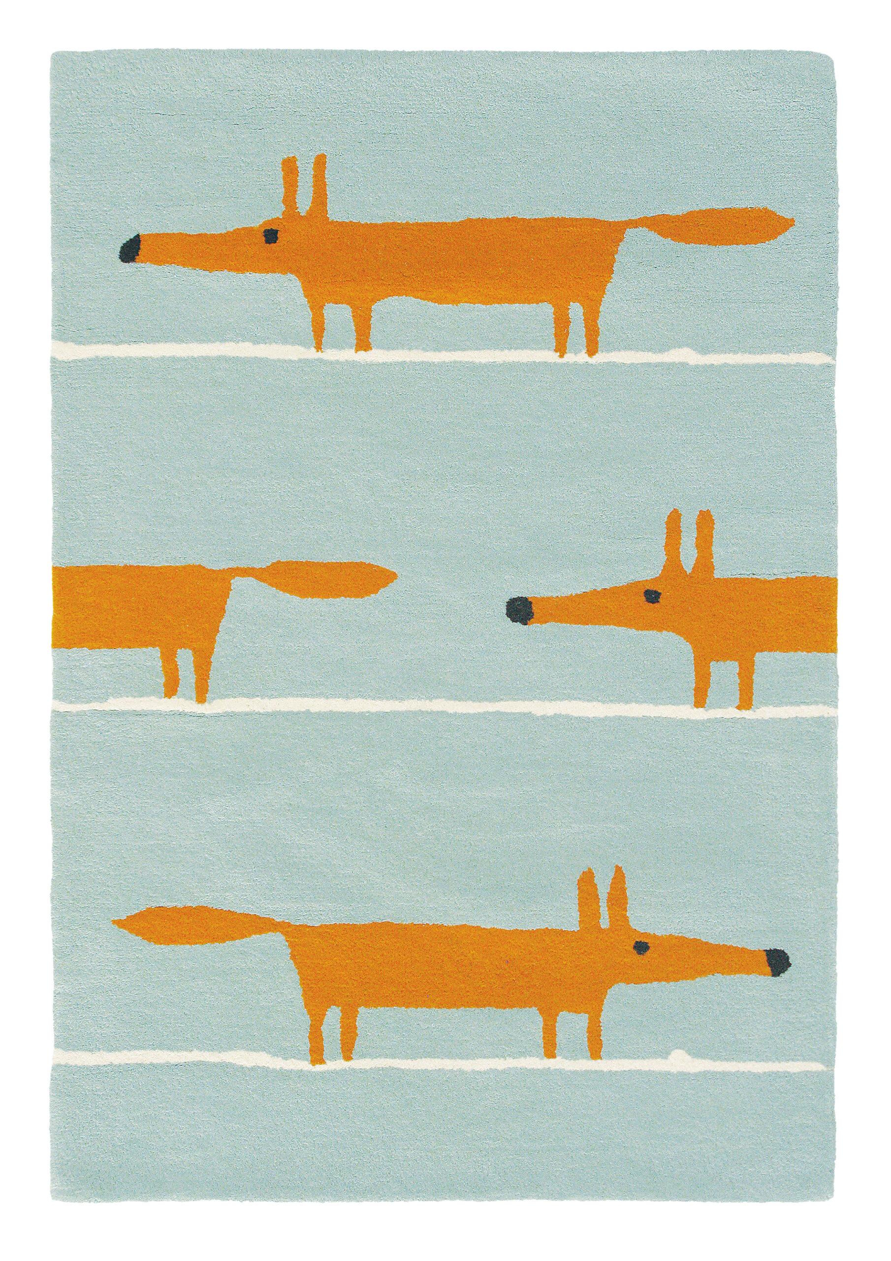 Błękitno Pomarańczowy Dywan Dziecięcy - MR FOX AQUA 25308  90x150